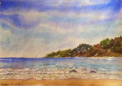 Water colour painting of a seascape by Manju Panchal