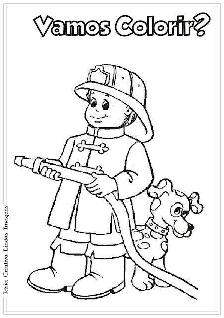 Desenho de Bombeiro para colorir / Dia do Trabalho para colorir