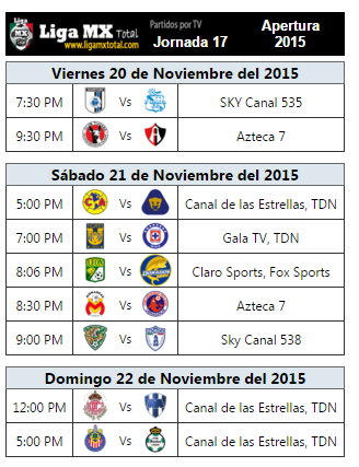 Programacion television jornada 17 futbol mexicano