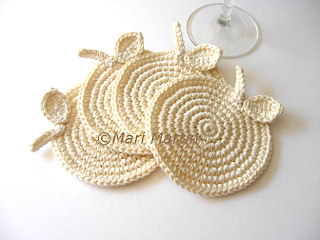 Crochet Coasters Vanilla Apples