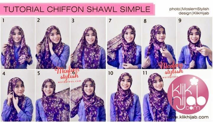 Cara Memakai Jilbab Chiffon Shawl Simple