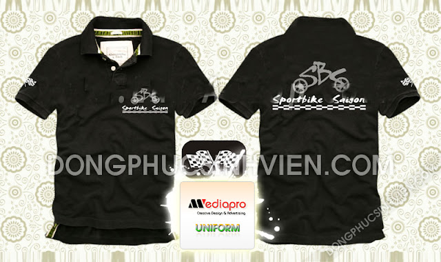 Áo hội viên màu đen cổ trụ in hinh Sportbike Sài Gòn - Mã AL45
