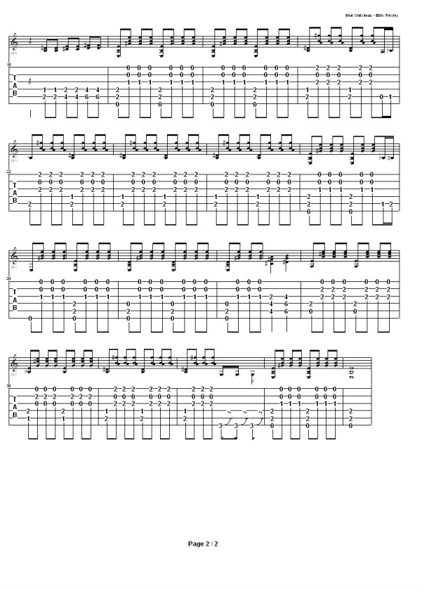 Guitar Tabs: Tabs And Song Sheet For: Blue Christmas by Elvis Presley