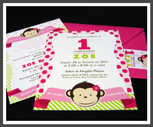 Lizzy b loves 1st birthday baptism invitation such as diagonal lines and polka dots accompanied by flowing banners holding the important information added to the playfulness of the invitations stopboris