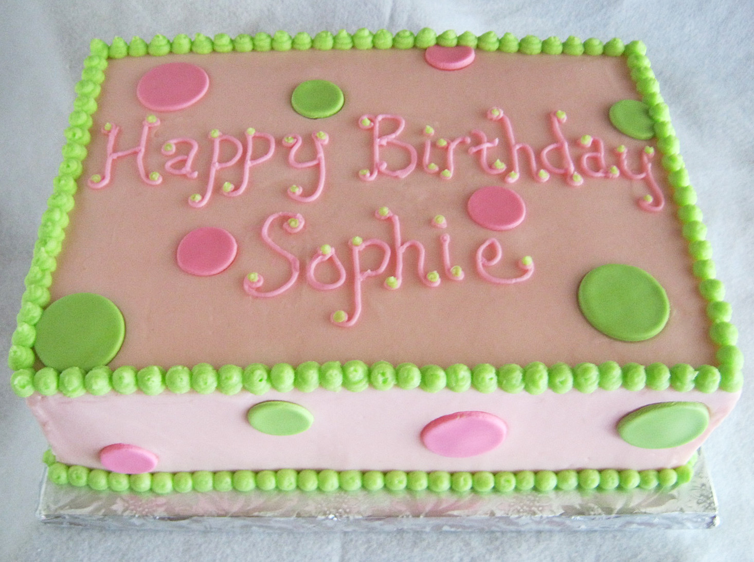 Cake Decorating Ideas Birthday Girl : Pink & Green Sheet Cakes for 1st and 80th Birthdays