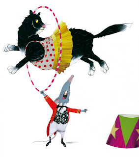 illustration of a cat jumping a hoop and a mouse in an animal circus by Robert Wagt