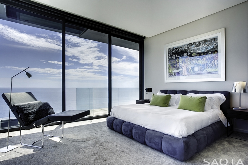 Ocean view from modern bedroom