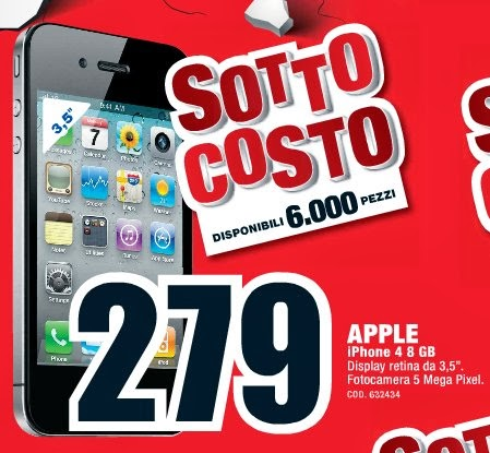 In sottocosto a 279 euro l'iPhone 4 proposto per i primi giorni di ottobre 2013 da Mediaworld