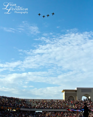 Air Force fighter jets flyover at the Texas State vs. Texas Tech football game