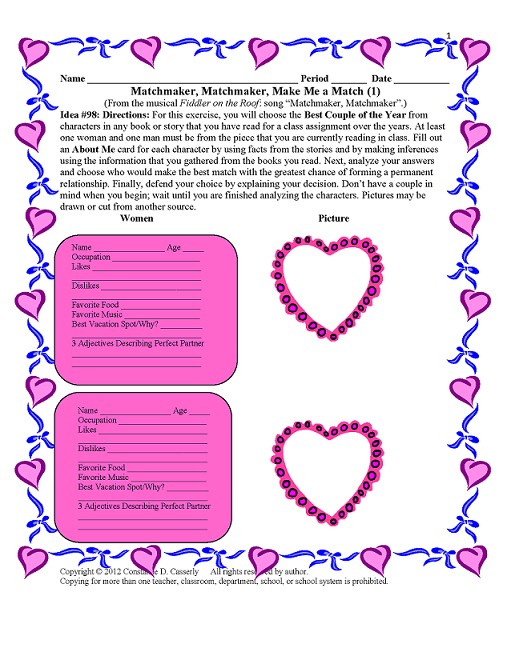 Middle School and High School Valentine's Day Activity