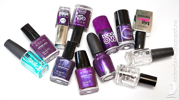Bell Glam Wear #423, Avon Gel Finish Perfectly Plum, Avon Plum Seduction, Avon Starry Night, Catrice Crushed Crystals PLUMdogMillionaire, Avon Decadence, Models Own Amethyst и Sephora by OPI Just a Little Dangerous