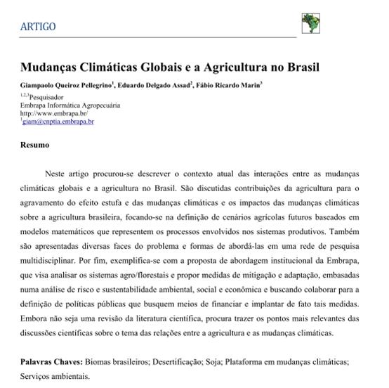 Artigo: Mudanças Climáticas Globais e a Agricultura no Brasil