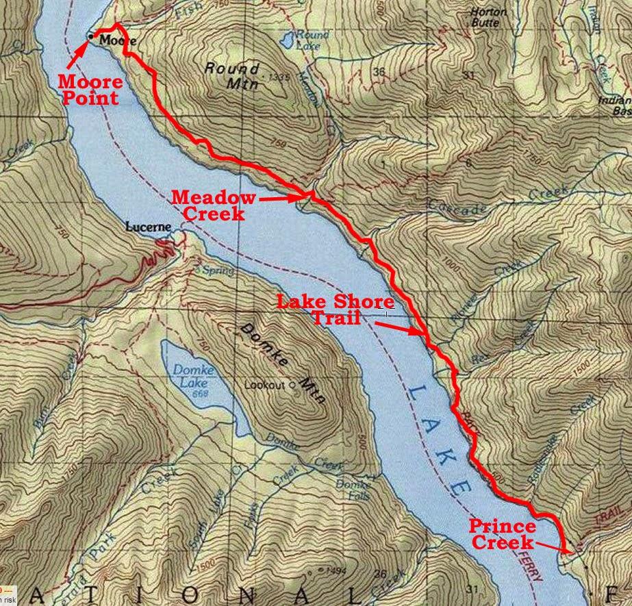 lake chelan lake shore trail prince creek to moore point