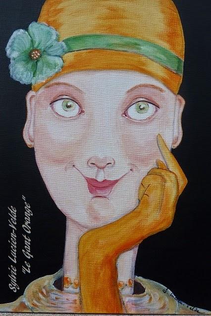 Le Gant Orange - format 40x30 cm - peinture acrylique de Sylvie Lucien-Velde