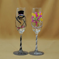 Toasting Flutes for Bride and Groom - Groom Top Hat Stylized Bow Tie and Cane - Bride Bouquet and Pearls