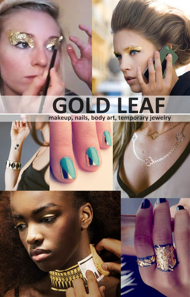 Gold Leaf makeup, body art, DIY, nails, jewelry
