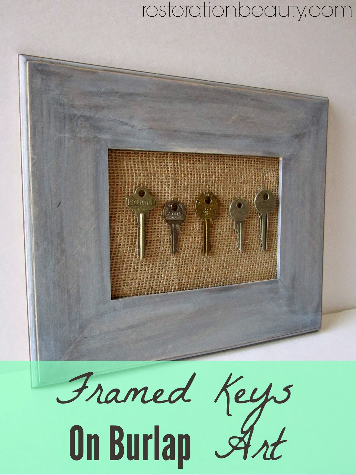 Restoration Beauty: Framed Keys On Burlap {Fun DIY Art}