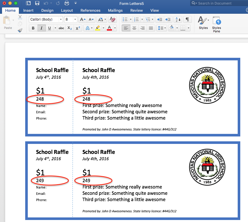 Thatu0027s It! Print This Document And You Are Done. Give Yourself A Big Pat On  The Back!  Create Raffle Tickets In Word