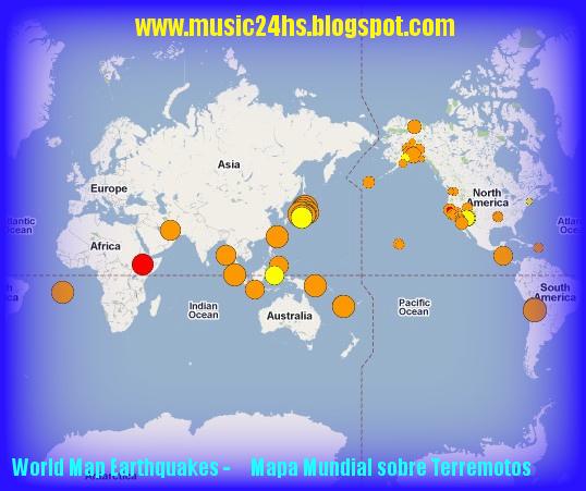 MAPA MUNDIAL con la información sobre temblores y Terremotos