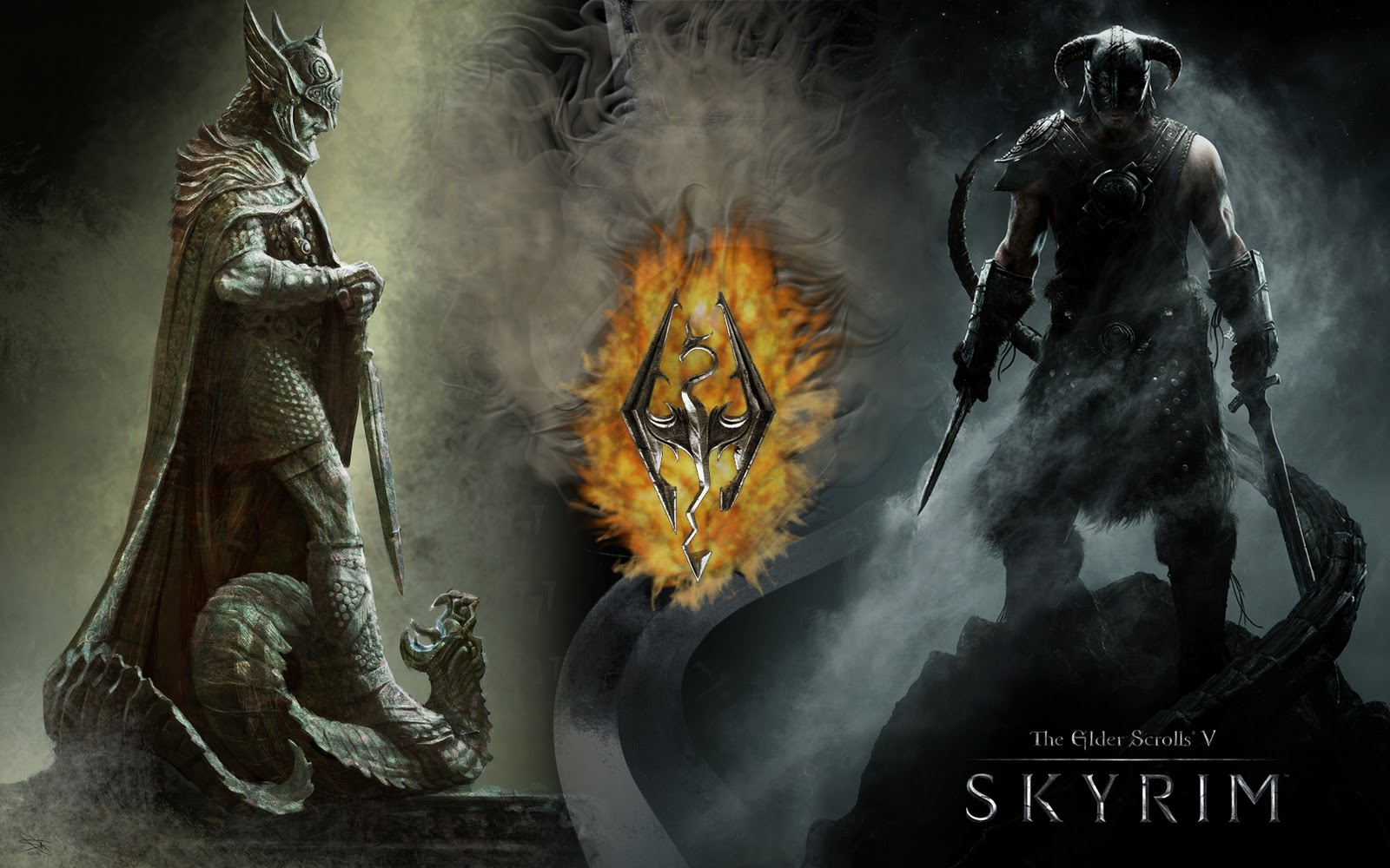 skyrim fanart: wallpaper featuring talos and the dragonborn