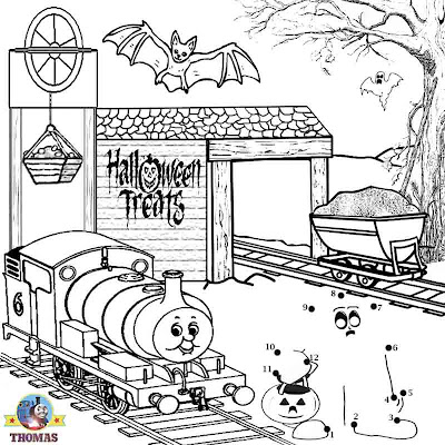 Free worksheets coloring Thomas and friends Percy the train Halloween dot to dot printables for kids