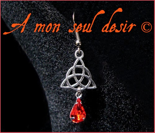 Boucles d'oreilles celtique celte triquetra viking irlande orange celtic knot irish earrings Rowena Fire