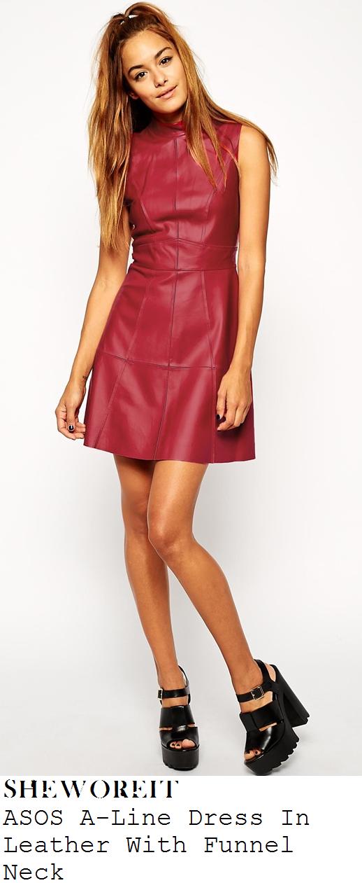 caroline-flack-berry-pink-sleeveless-high-neck-leather-mini-dress-brit-awards