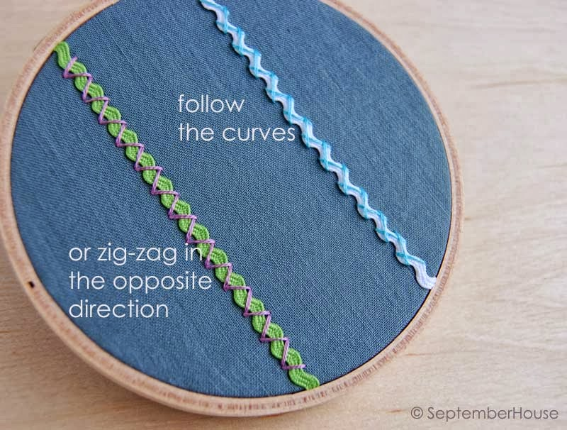 DIY embroidery tutorial hand embroidery stitches embroidered embellishing with rick rack cross stitch how-to