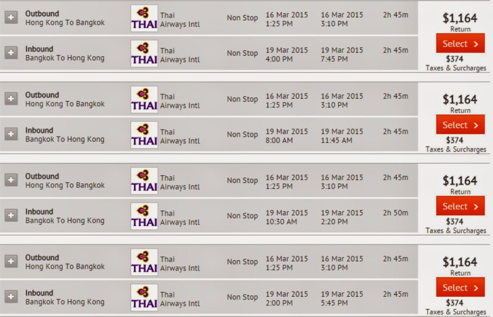 Zuji泰航-香港香港往來曼谷$1,164起 (連稅$1,538起)