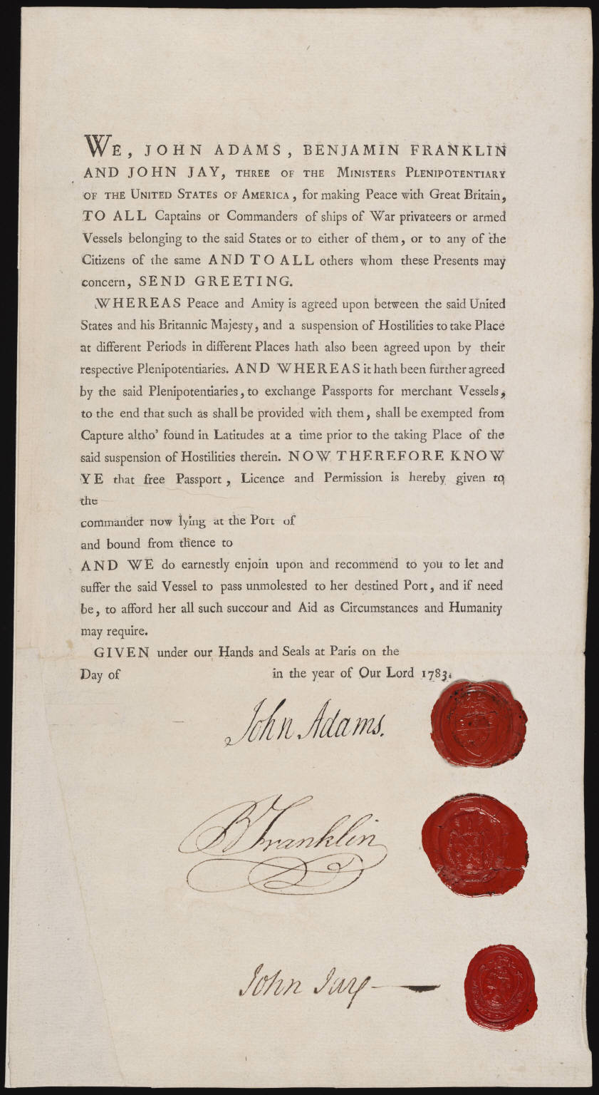 president john adams us passport for ministers plenipotentiary john adams benjamin franklin and john jay for safe passage to negotiate treaties 1783