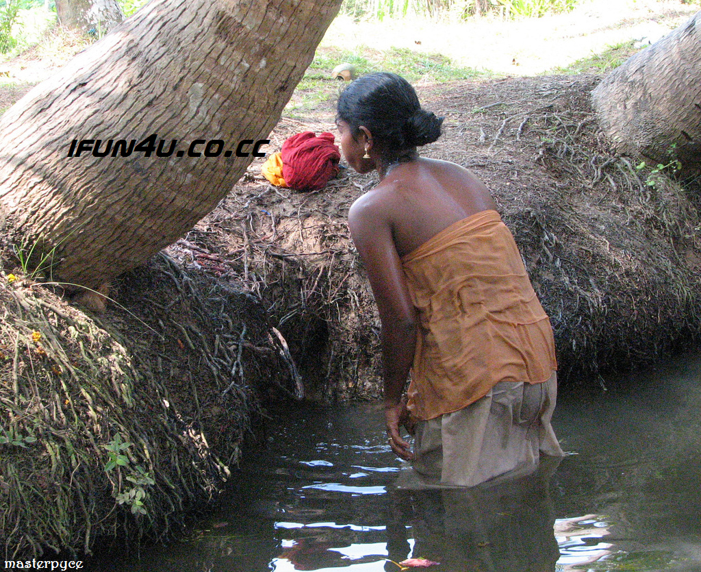 Girl River Bathing Village Out Door Indian