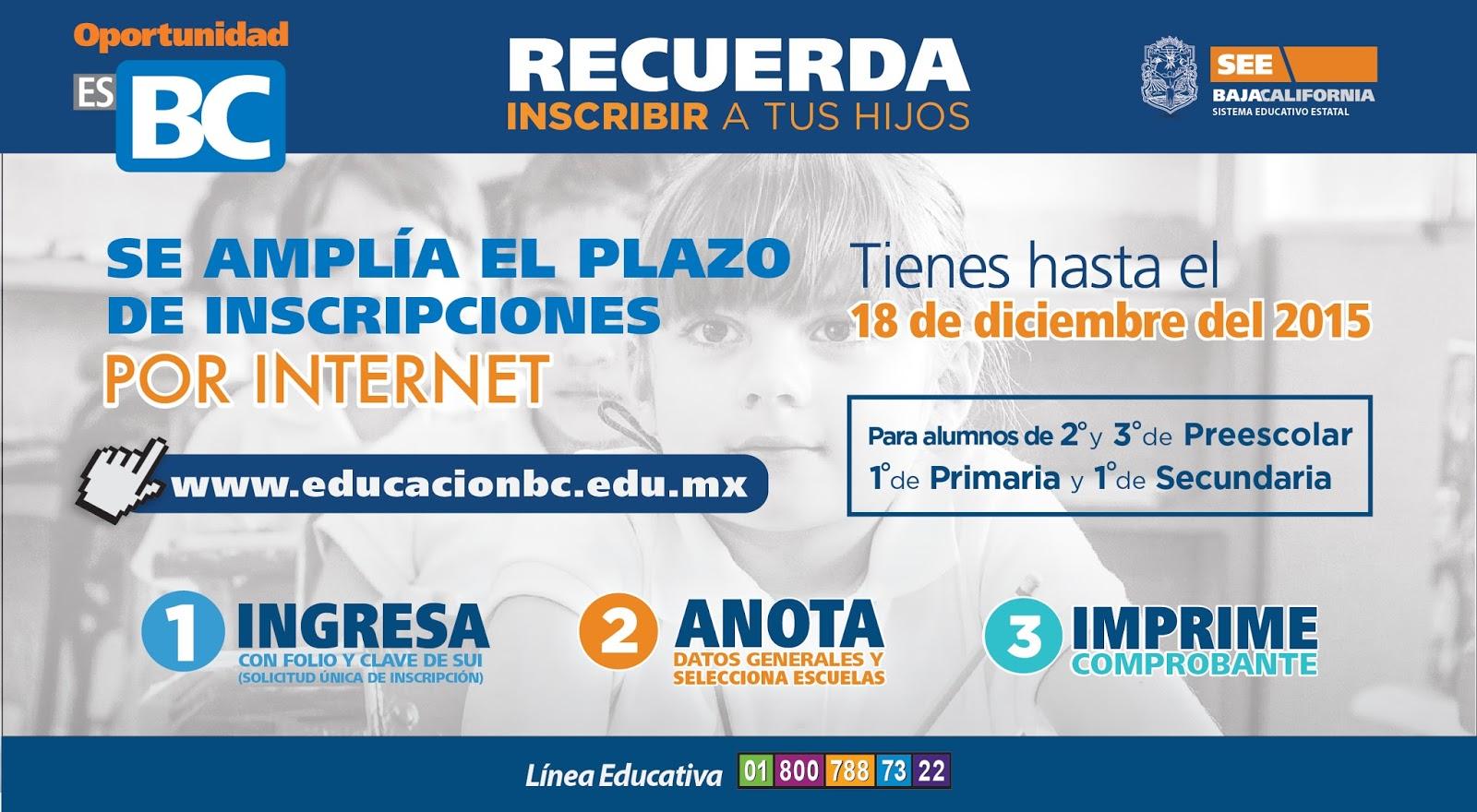 Prorroga Al  De Diciembre Para Inscripciones A Preescolar Primer Grado De Primaria Y Secundaria Ciclo