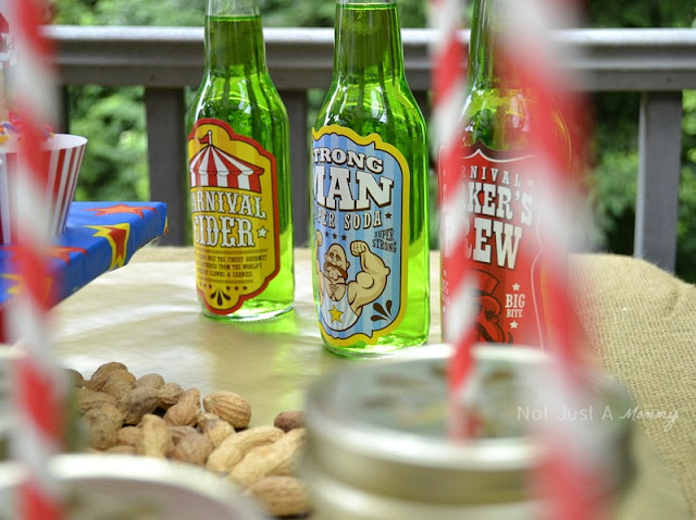 Run Away With The Circus party table soda labels