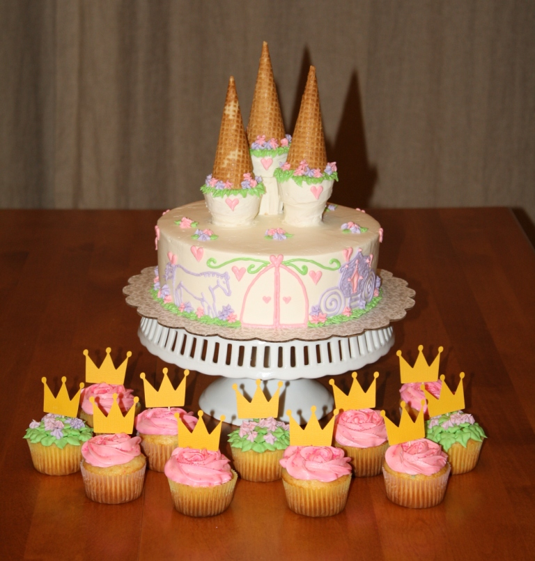 Party Cakes Castle Cake And Princess Cupcakes