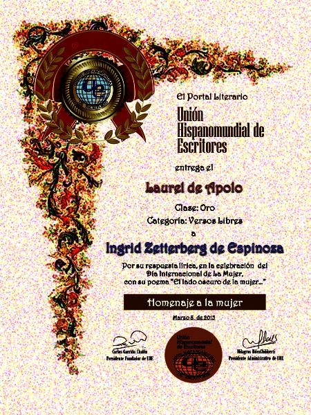 El Apolo de oro...Primer puesto en el día de la mujer en Unión Hispano mundial de escritores