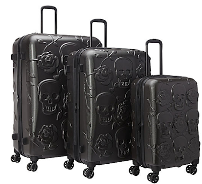 IT Luggage Skull Emboss 3 Pc Spinner Luggage Set