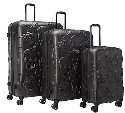 IT Luggage Skull Emboss 3 Pc Spinner Luggage Set