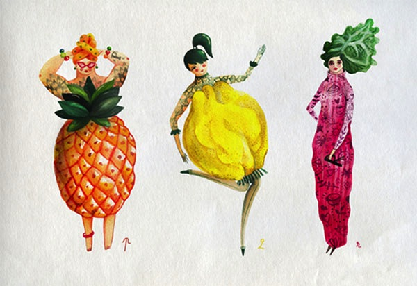 imaginative fruits and vegetable illustrations