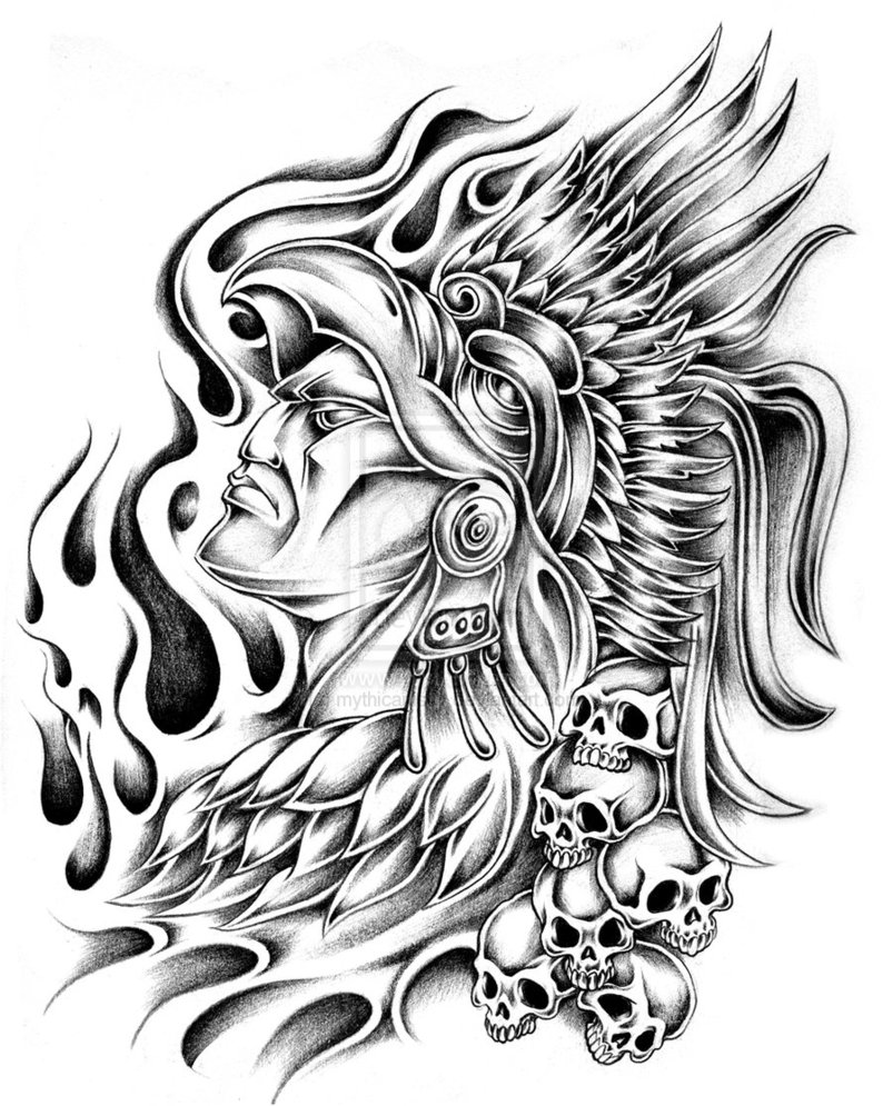 Gallery For gt Aztec Warrior Drawing Black White