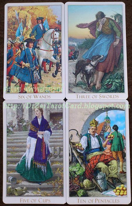 Minor Cards Victorian Romantic Tarot Ten Pentacles ไพ่สิบเหรียญ ไพ่หกไม้เท้า 6 Wands Three Sword 3 ดาบ ไพ่ห้าถ้วย Five Cups