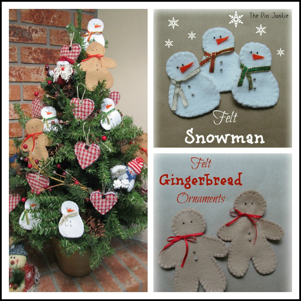 felt-christmas-ornaments with pattern