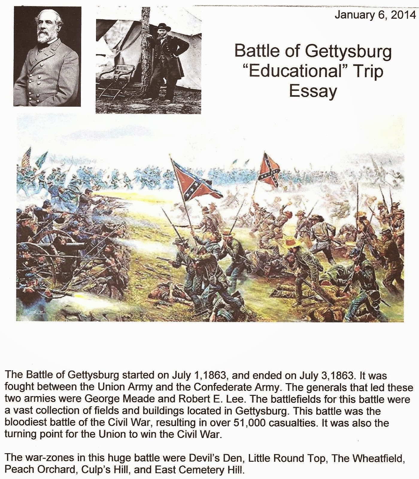 why was the battle of gettysburg a turning point in the war essay The battle of gettysburg essay the battle of gettysburg the american civil war started in 1861because the northern and southern part of the united states fought for westward expansion and slavery.