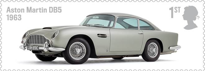 Royal Mail Auto Legends stamp with Aston Martin DB5