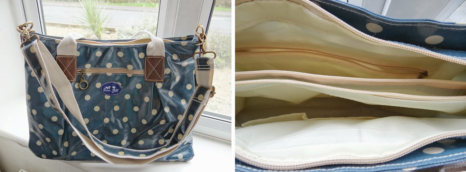 Lara Jill Handbag, polka dots handbag, vintage style tote