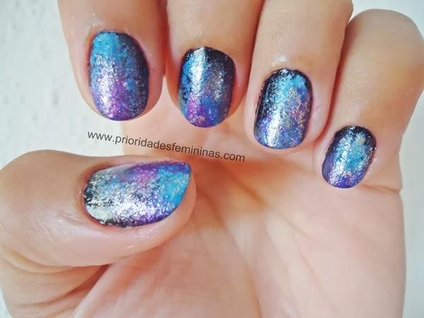 nail art galáxia, unhas decoradas galáxia