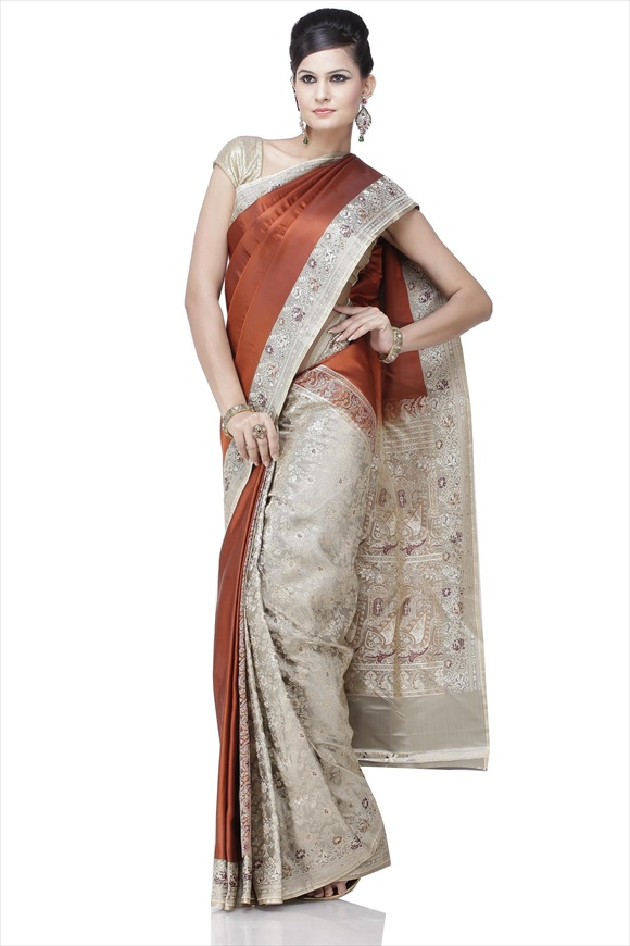 Leather Brown Art Kattan Silk Banarasi Saree