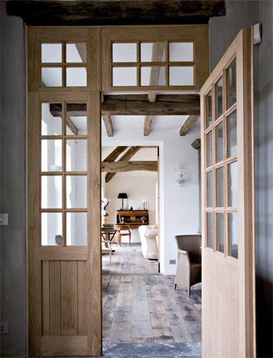 Farmhouse, restored by architect Xavier Donck, image via Corvelyn as seen on linenandlavender.net - http://www.linenandlavender.net/2013/03/reclaimed-wood-floors-by-corvelyn-be.html