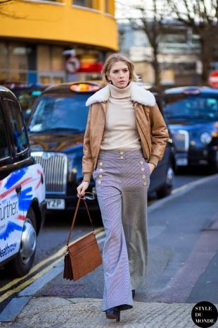 Pantalones de campana rayas street style 2015