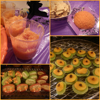 Halloween party treats squash fruit guts zombie eyes monster mouth pumpkin hummus