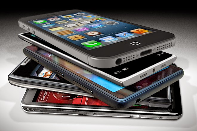 smartphones stacked up